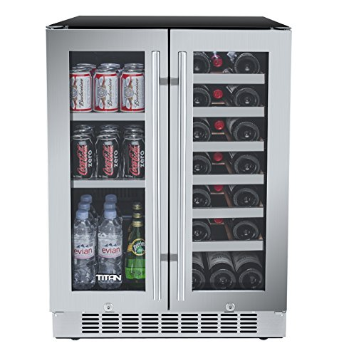 Titan 24 Inch Built-In French Door Wine and Beverage Refrigerator (Built In French Door Refrigerator)
