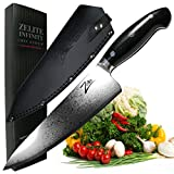 ZELITE INFINITY Chef Knife 8 Inch >> Executive-Plus Series >> Best Quality Japanese VG10 Super Steel 67 Layer High Carbon Stainless Steel, Incredible G10 Handle, Full-tang, Ultra-Deep 56mm Chefs Blade
