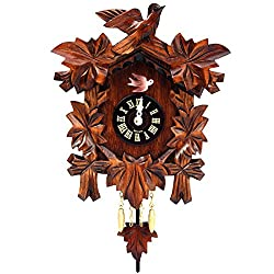 Alexander Taron Importer Black Forest Carved Leaves Clock