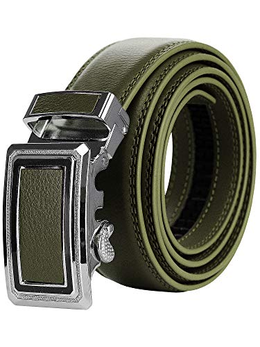 (NYFASHION101 Men's Genuine Leather Ratchet Dress Trim to Fit Belt with Automatic Buckle, FDL065, Olive,)