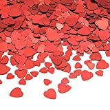 KUUQA 80g Red Heart Table Confetti PVC Red Heart Sparkle Confetti for Wedding/ Valentine's Day