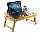 Aleratec Natural Bamboo Cooling Laptop Stand Up To 15in Bed Table Tray