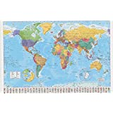 LAMINATED WORLD MAP POSTER 61x91cm With Country Flags Detailed Wall Chart by LAMINATED WORLD MAP POSTER