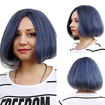 Weibliche Kurze Haare Perücke Blau Grau Verlaufend Art Und