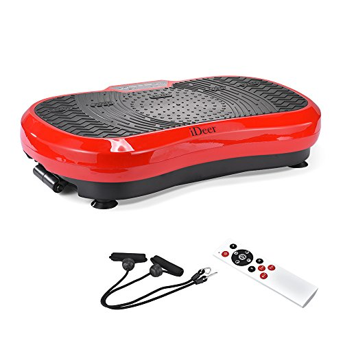 iDeer Vibration Machine Fitness Vibration Plates,Whole Body Vibration Platform with Remote Control & Resistance Bands,Anti-Slip Fit Massage Workout Trainer Max User Weight 330lbs (Red AUS09002)