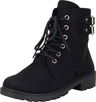 d332f53887d Amazon.com | Cambridge Select Women's Lace-Up Strappy Buckle Chunky ...