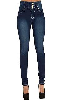 675c7918ad4 Pantalons Femme avec Boutons Casual Vintage Slim Taille Haute Skinny  Stretch Denim Jeans Pants Push Up