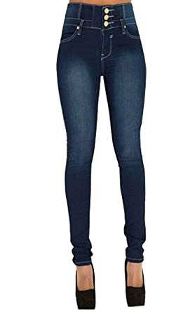 look for buy best classic shoes Pantalon Femme Jean Denim Taille Haute Skinny Slim Stretch Push Up Casual  Vintage Jeans avec Boutons