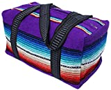 "Serape Style Carry On Shoulder Tote Duffel Bag 18""x 10""x 10"" Lightweight Duffel Bag with Hand-Woven Mexican Serape Design (Purple)"