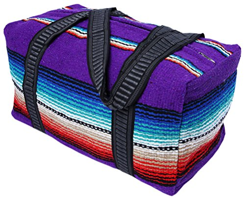 "Serape Style Carry On Shoulder Tote Duffel Bag 18""x 10""x 10"" Lightweight Duffel Bag with Hand-Woven Mexican Serape Design (Purple) by El Paso Designs"