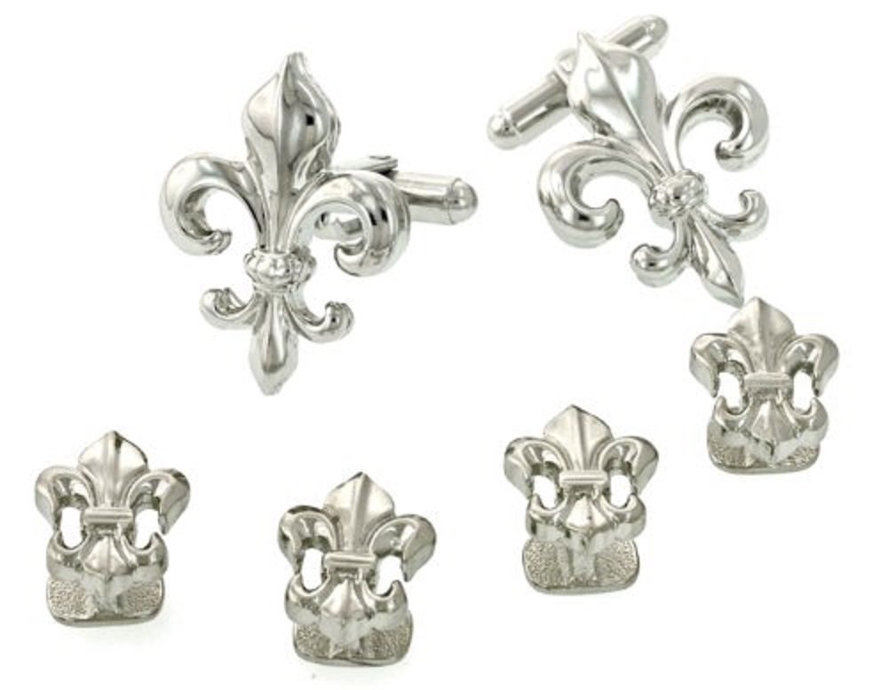 JJ Weston Fleur de Lis Tuxedo Cufflinks and Shirt Studs. Made in the USA.