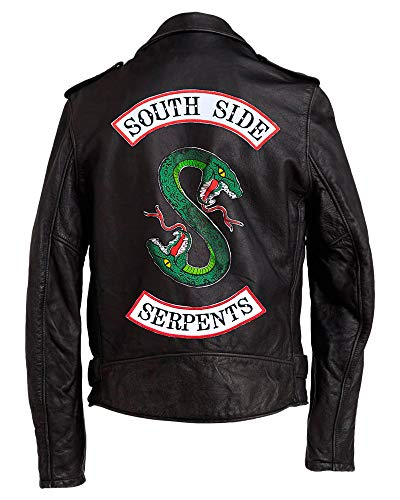 Jughead Jones Asymmetrical Lambskin Motorcycle Jacket - Halloween Snake Logo Leather Jacket Men (Large, Jughead Jones Men - Real Jacket)