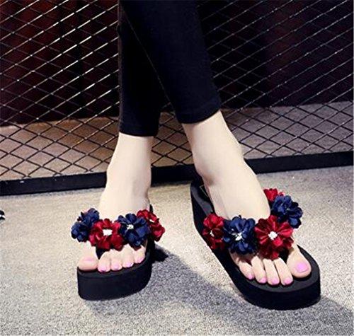 Flip Fleurs Sandales Sandales confort Sable de Des Flops Talon Pantoufles Chaussures Thong Compensé Plage été Summens femme Tongs Sandales EXqBI