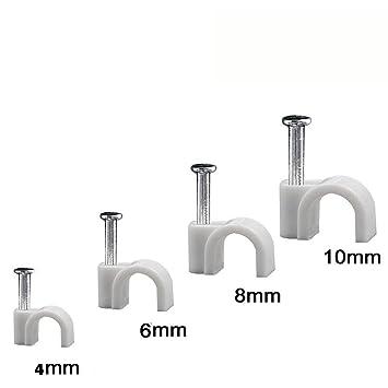 Jeffica [400 Unidades] Clips para Cable autoadhesivos,4mm 6mm 8mm 10mm Gestión de