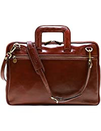 Firenze Slim Leather Briefcase Attache Messenger Bag Small (Vecchio Brown)