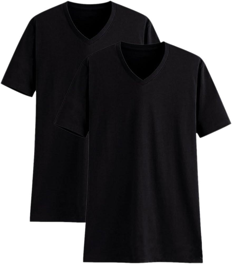 Camisetas para Hombre Manga Corta Cuello en V Algodón Camisetas Básicas de Colores Diferentes Paquete de 2 o de 5
