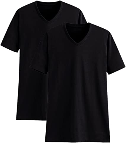TALLA M. Camisetas Manga Corta Hombre Cuello Pico Algodón Paquete de 2 o de 5