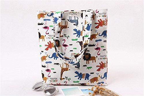 - Canvas Tote Bag Animal Print Cute Design ASAPS (14.96 x 12.99inch) (Animal)