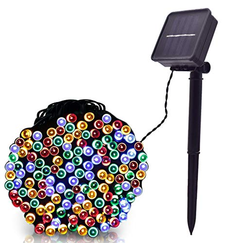 Ikevan 10M 0.5W 100 LED Solar Lamps String Christmas Wreaths Wedding Party Decoration Night Light for Living Room Garden Decor (Multicolor)