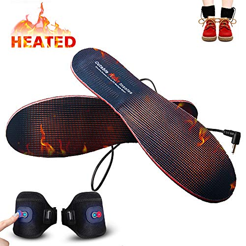 Heated Insoles with Rechargeable Battery Powered,Bial Adjustable Temperature Electric Pads Foot Warmers for Men Women Warm Feet on Winter Adventures Outdoor Sports Like Skiing Hunting Hiking Camping
