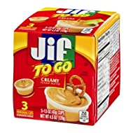 Jif to Go Creamy Peanut Butter Snacks 4.5 oz 3 Individual 1.5 ounce Cups (Pack of 2)