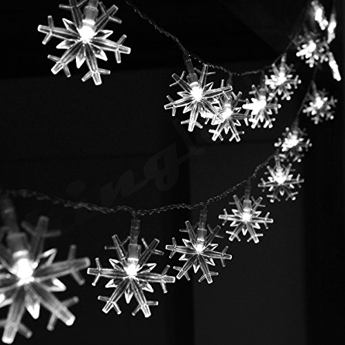 Snowflake string lights outdoor amazon kingleder 4m 40led snowflake battery operated led wire string lights lamp for christmas wedding party indoors outdoors home festival decorationwhite aloadofball Image collections