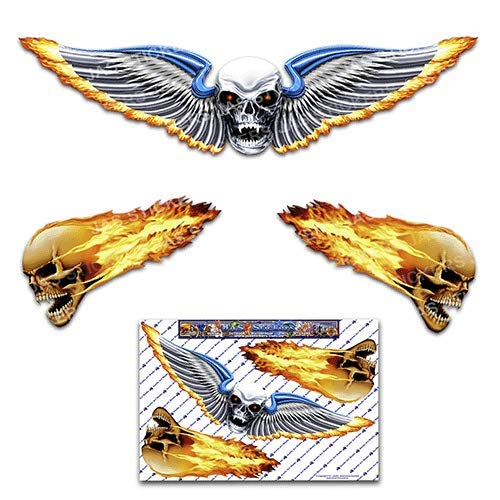 SKULL Wing Medium Scary Funny Car Stickers Motorcycle Vinyl Decals ST00020_3 - JAS -