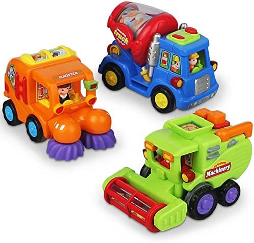 CifToys Push and Go Friction Powered Car Toys for Boys - Construction Vehicles Toys for 1 Year Old Boys (18 Months+) Toddlers Street Sweeper Truck, Cement Mixer Truck, Harvester Toy Truck