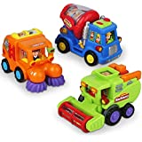 Friction Powered Push and Go Car Toys for Boys - Construction Vehicles Toys for 1 Year Old Boys (18 Months+) Toddlers Street Sweeper Truck, Cement Mixer Truck, Harvester Toy Truck