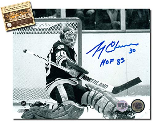 (Gerry Cheevers Autographed Signed 8x10 Hockey Photo Memorabilia Certified with WCA Dual Authentication Holograms and COA)