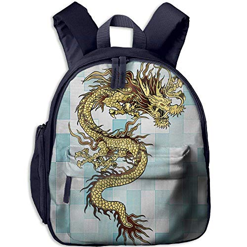 (Chinese Dragon Gold Funny Kids Bags Boys And Girls School)