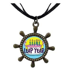 Chicforest Bronze Retro Style Leap Year Birthday Cake Ship Steering Wheel Pendant Pendant Necklaces