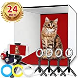 Photo Studio Box, FOSITAN 24x24 inches Table Top Photo Light Box Continous Lighting Kit with 5 Tripods, 4 LED Ring Lights, 4 Color Backdrops & a Cell Phone Holder for Photography