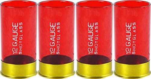 12 Gauge Shotgun Shell Shot Glasses, Red, Set of