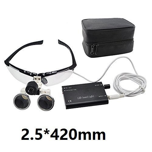 Denshine® Dental Surgical Medical Binocular Loupes Optical Glass Loupe 2.5x 420mm + Head Light Lamp +Carry Bag 001 (USPS Shipping)