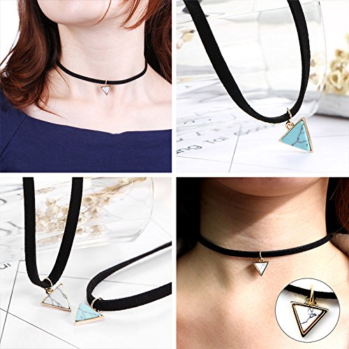 Tpocean 10PCS Embroidery Rose Gold Chain Triangle Pendant Velvet Lace Tatoo Choker Set Punk Gothic Necklace for Women Girls Gifts