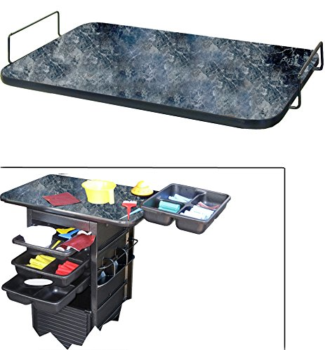 109 UTILITY TOP BOARD in BLACK MARBLE Laminate for Dina Meri Salon Rollabouts