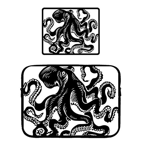 Notebook Sleeve Classic Black Octopus Tattoo Design 15 Inch Laptop Computer Case 12.9 in Tablet Carrying Cover Bags 15
