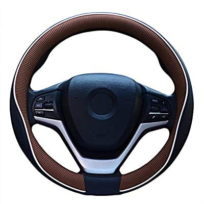 Fiber Leather Car Steering Wheel Cover, Universal 15 Inch Auto for Men Durable & No Smell(Black and Coffee): Automotive