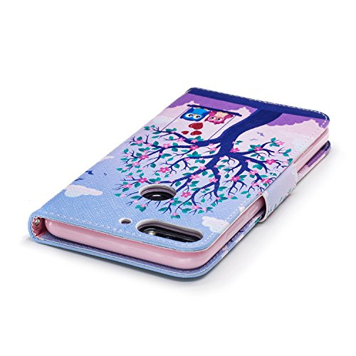 EUWLY Huawei Honor 7C Leather Wallet Case,Huawei Honor 7C Protective Case [Cash and Card Slots],Beautiful 3D Colorful Pattern Elegant Retro Pattern Pu Leather Case Book Wallet Flip Cover [Kickstand] [ Two Eagles
