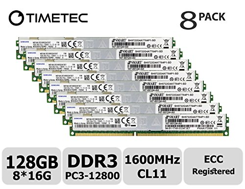 Timetec Samsung 128GB Kit (8x16GB) DDR3L 1600MHz PC3-12800 Registered ECC 1.35V CL11 2Rx4 Dual Rank 240 Pin RDIMM Server Memory RAM Module Upgrade (128GB Kit (8x16GB)) -