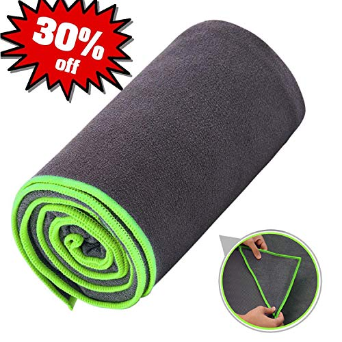 Ewedoos Yoga Towel with Anchor Fit Corners, 100% Microfiber Non Slip Yoga Towel, Super Soft, Sweat Absorbent, Ideal for Hot Yoga, Pilates and Workout (Green Trim)