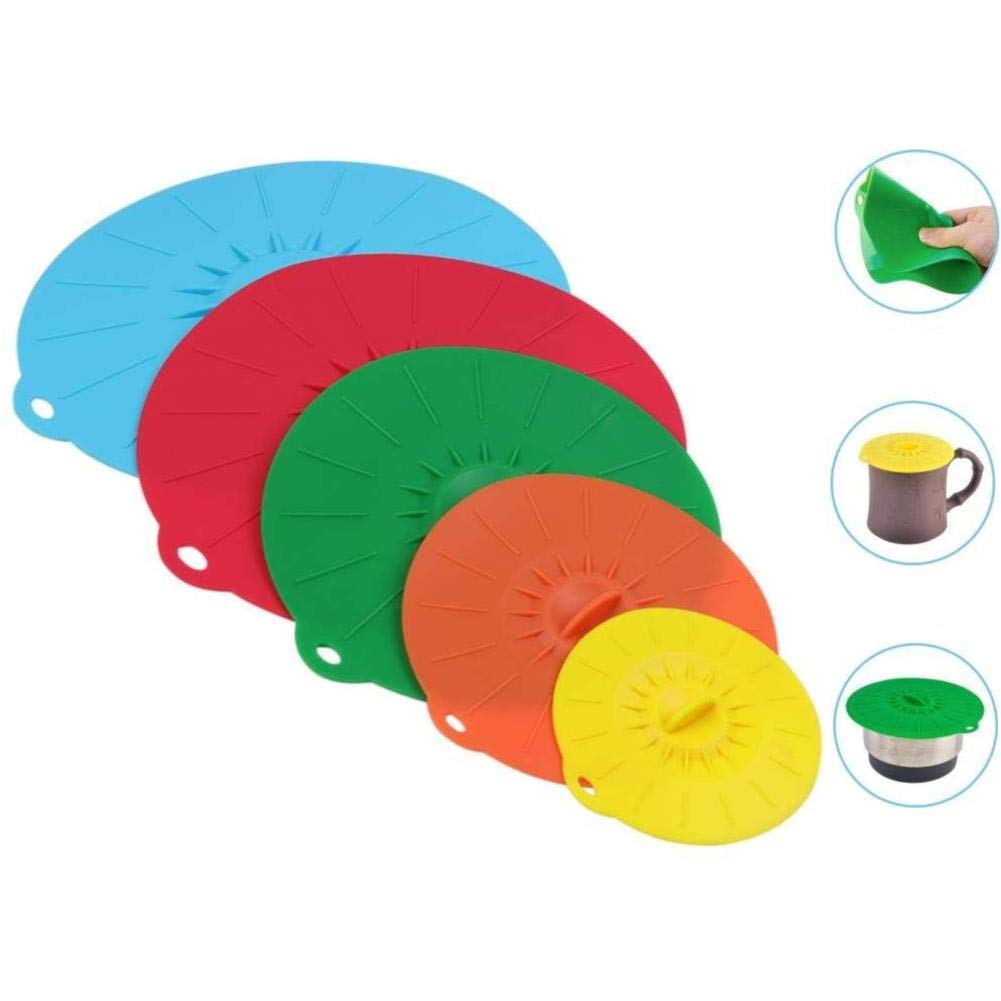 JJLng Silicone Lids, Food Grade Heat-Resistant Silicone Bowl Lids 5 Colors Fits Various Sizes of Cups, Bowls, Pans, Containers