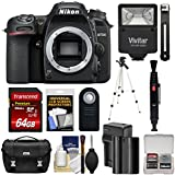 Nikon D7500 Wi-Fi 4K Digital SLR Camera Body with 64GB Card + Battery & Charger + Case + Tripod + Flash + Remote + Kit