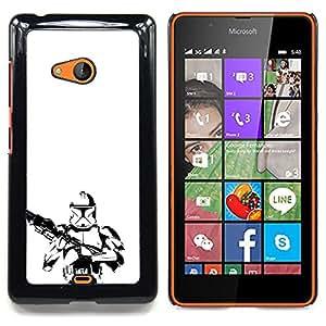 "Qstar Arte & diseño plástico duro Fundas Cover Cubre Hard Case Cover para Nokia Lumia 540 (Minimalista B & W Tormenta Tropa"")"