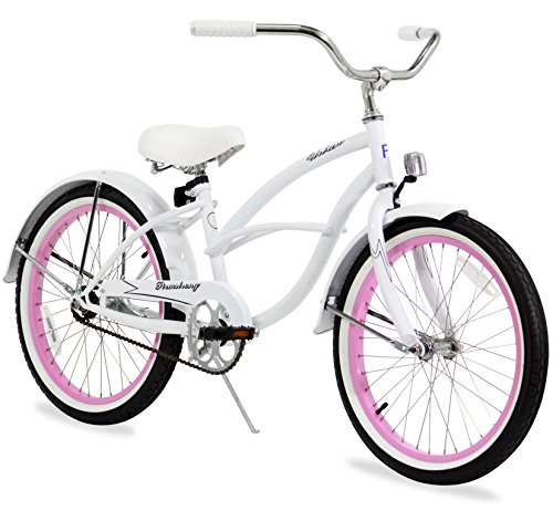 Firmstrong Urban Girl Single Speed Beach Cruiser Bicycle, 20-Inch, White w/ Pink Rims (Girls Beach Cruisers)