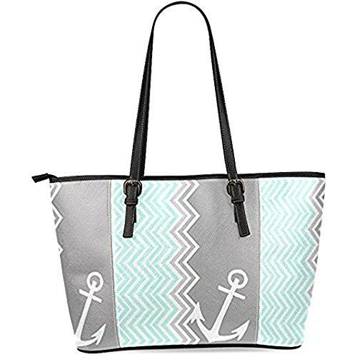InterestPrint Mint Green White Chevron Anchor Women's Leather Tote Shoulder Bags Handbags