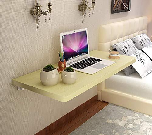 Dongy bord fällbord enkelt väggbord med metallhållare matbord datorbord bord-tjocklek 1 cm vitt lönn (storlek: 100 x 40 cm)