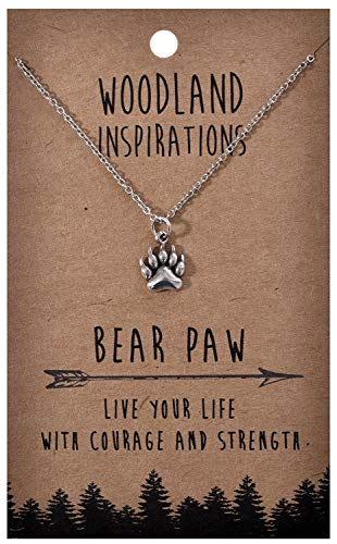 Shag Wear Woodland Nature Inspirations Quote Necklace (Bear Paw - Sterling Pendant Bear