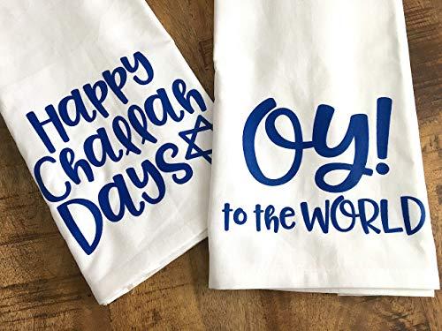 (Hanukkah Hostess Flour Sack Towels - Funny Hanukkah Gift - Jewish Holidays Kitchen Dish Cloth - SET OF 2)